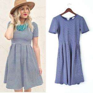 LuLaRoe Striped Amelia Dress Pockets Blue Small